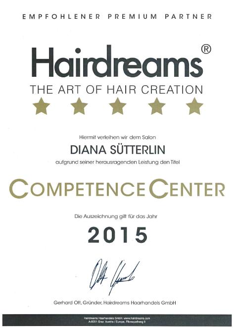 Auszeichnung Hairdreams 2015